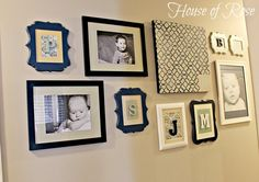 Love this Hallway Wall Art Gallery w/ Monograms and DIY'd Stenciled Canvas