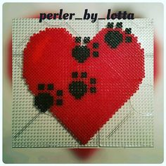 Red heart hama beads by  perler_by_lotta