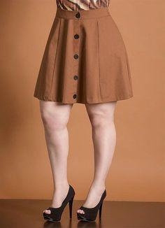 Saia Evasê (Marrom) com Botões Dress Skirt, Dress Up, Skater Skirt, Button Front Skirt, Casual Skirts, Vintage Skirt, Work Wear, High Waisted Skirt, Mini Skirts
