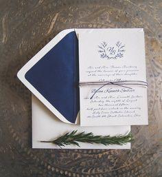 Navy rustic elegant - wedding invitation suite (digital file)