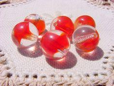 Red Heart Beads Rose Heart Lampwork Glass Bead 18mm 8pcs US Seller