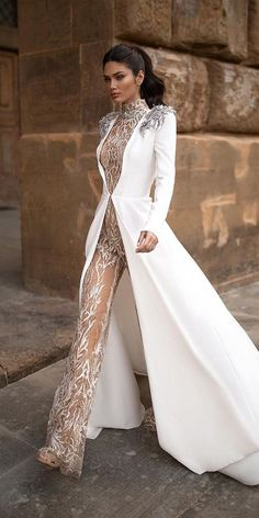 Wedding Dresses Simple A Line Trend 30 Wedding Pantsuit & Jumpsuit Ideas wedding pantsuit ideas nude with cape long sleeves 2020 millanova Antique Wedding Dresses, Luxury Wedding Dress, Prettiest Wedding Dress, Wedding Jumpsuit, Lace Jumpsuit, White Jumpsuit, Vestidos Luau, Ao Dai Wedding, Fall Wedding