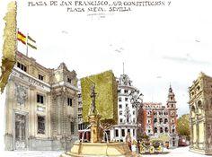 23Abr17PzaSanFrancisco Building Sketch, Old Building, Pen And Watercolor, Watercolor Paintings, Fabrice Moireau, San Francisco, Sketch Journal, Sketch Inspiration, Urban Sketchers