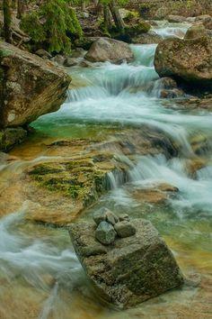 September 2010 Studený potok waterfalls, High Tatras Waterfalls on Studený potok (=Cold Creek) in Studená dolina valley in High Tatras in...