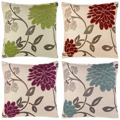 """Chrystie, Cushion Covers, Chenille Floral Cushions, Exclusive Ideal Textiles Design, Pillow Covers, 18"""" x 18"""", 45cm x 45cm (Red)"""