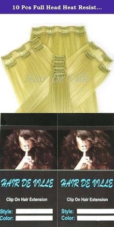 10 Pcs Full Head Heat Resistant Synthetic Clip In Hair Extensions Long 16 Inches 125 g Color Light Blonde. Hair De Ville Hair Extension is a new technology in synthetic clip in hair extension, thermofibre hair that can be straightened and curled to a temperature of 180c. Increase hair length and fullness with these beautiful salon style hair wefts in second .You can also cut, blown dry or wash this type of hair and it is designed to look and feel just like human hair. This hair is really...