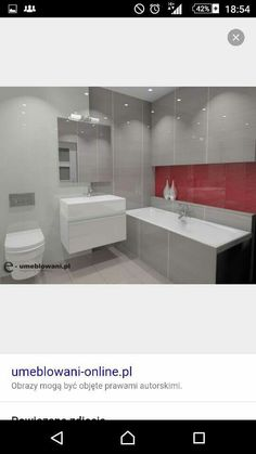 Grey and red bathroom