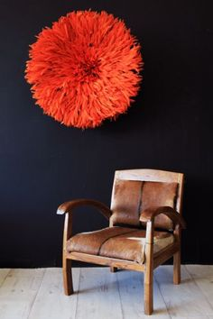 JuJu African Hat Feather Wall Hanging - Orange