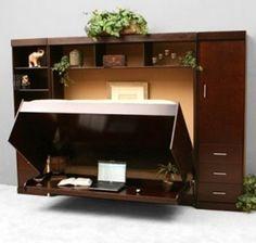 creative hidden bed and desk