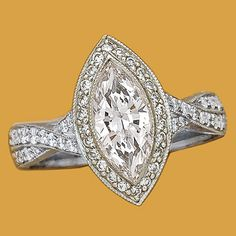 Platinum and diamond (1.57 ct) marquise-cut ring, by JB Star from Michael C. Fina