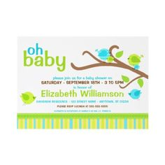 Cutie Birds Baby Shower Invitations   - PERSONALIZE IT! - Nothing quite says joy like the celebration of a new baby. Whether you're the mommy-to-be planning your own, or the hostess in charge of all the fun details, personalize these adorably cute blue and green cutie birds baby shower invitations, for your upcoming event.
