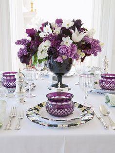 Beautiful purple flower arrangement from Gardens   Carolyne Roehm