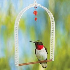 Hummingbird Swing. Make your own using plastic canvas and a wooden dowel. I can't wait to see birds swinging from these on my deck.