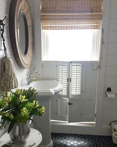 """71 Likes, 1 Comments - Better Homes & Gardens (@betterhomesandgardens) on Instagram: """"We're madly in love with @unionwillow's charming bathroom. ❤️ That shutter treatment is so cute!…"""""""