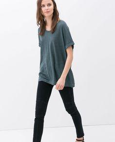 Image 2 of OVERSIZE LINEN T-SHIRT from Zara