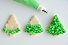 These Christmas tree sugar cookies have such a gorgeous fir tree texture! This recipe makes perfect, fool proof cookies which are perfect for decorating!