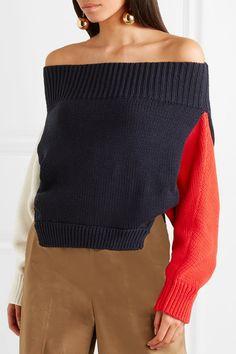 Monse | Off-the-shoulder color-block cotton sweater | NET-A-PORTER.COM