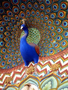 Colourful Peacock-decoration at the City Palace, Jaipur, Rajasthan, India Peacock Colors, Peacock Art, Goa India, Peafowl, Indian Architecture, New Delhi, Incredible India, Amazing, My New Room
