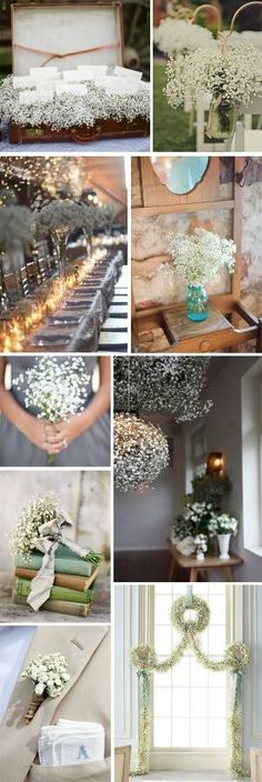 Love ALL the ideas in this montage!! Baby's breath is cheap yet so elegant looking!!!!!!!!!!@K'Anna Hemphill by oldrose