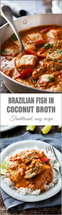 Fish Stew (Moqueca Baiana) Brazilian Fish Stew - fish in a fragrant, light coconut broth. Easy to make with everyday ingredients!Brazilian Fish Stew - fish in a fragrant, light coconut broth. Easy to make with everyday ingredients! Fish Recipes, Seafood Recipes, Soup Recipes, Dinner Recipes, Cooking Recipes, Healthy Recipes, Easy Cooking, Healthy Carbs, Bean Recipes