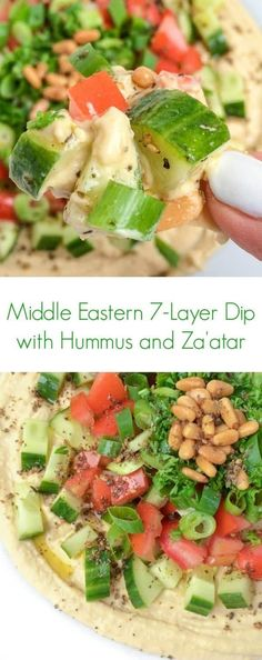 This hummus seven-layer dip is made with crunchy vegetables, toasted pine nuts and a drizzle of olive oil and za'atar. #hummus #appetizer #snack Good Healthy Recipes, Healthy Snacks, Vegetarian Recipes, Healthy Eating, Cooking Recipes, Easy Recipes, Tamales, Quesadillas, Zaatar Recipe