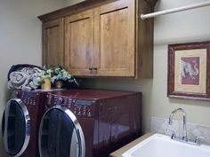 Knotty alder cabinets + bar above to hang clothes