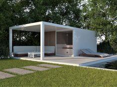 Sauna with storage area and terrace overhang. Project in white aluminium Pool Landscaping, Backyard Pools, Pool Decks, Natural Swimming Pools, Natural Pools, Modern Saunas, Sauna Shower, Garden Huts, Sauna Design