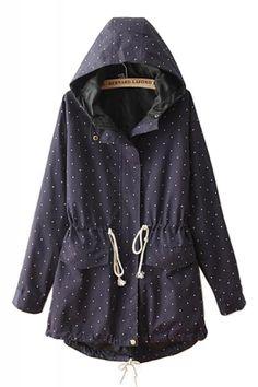 Dots Print Drawstring Long Sleeve Hooded Trench Coat Blazer, Blue Coats,  Fashion Moda, 0b33275208
