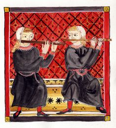 """dueling flutes"" two flautists from the Cantigas de Santa Maria"