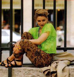 funkyinhere: Madonna by Tony Frank 1984 Madonna Looks, Lady Madonna, Madonna 80s, Madonna Fashion, 80s Fashion, Fashion Ideas, Pop Singers, Female Singers, Sitting Cross Legged