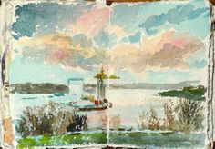 Alan Reed @adailysketch Today's Sketchbook preparation study using @Gabriela Wäfler Wäfler Figueroa watercolours of River Tyne 4 painting commission. pic.twitter.com/6nTZyj3HaM