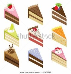 Vector illustration of nine slices of delicious cakes. by JungleOutThere, via Shutterstock