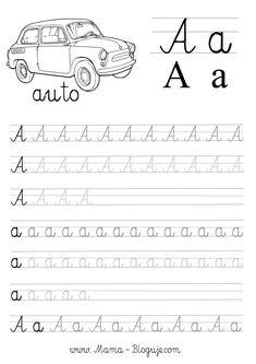 nauka pisania literek - szablon literka A Preschool Workbooks, Printable Preschool Worksheets, Preschool Writing, Preschool Classroom, Preschool Learning, Kindergarten, Teaching Cursive Writing, Cursive Handwriting Practice, Cursive Writing Worksheets