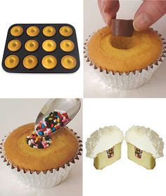 Cool gadget.  Bake hollows in your cupcakes for easy filling afterwards.