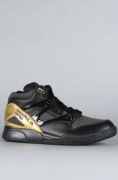 Reebok  The Basquiat Pump Omni Lite Sneaker in Black, Gravel, & Brass  $165.00