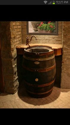 Wine barrel in the wine cellar