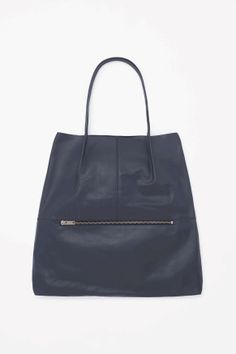 Foldover leather tote COS