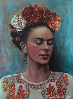Cate Rangel — Frida with White Huipil - Open Edition Print Frida Kahlo Artwork, Frida Paintings, Frida Kahlo Portraits, Frida Art, Sunset Paintings, Paintings Famous, Face Paintings, Flower Paintings, Abstract Paintings