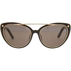 Tom Ford Black Edita Sunglasses ($370) ❤ liked on Polyvore featuring accessories, eyewear, sunglasses, glasses, oversized black aviators, cat eye sunglasses, oversized cateye sunglasses, oversized aviator sunglasses and oversized aviators