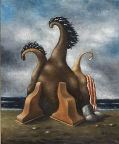 Alberto Savinio (Italian, 1891-1952), La famille, 1930. Oil on canvas, 46 x 38 cm.