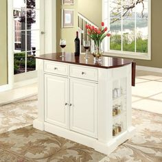 Crosley Furniture KF30007WH Drop Leaf Breakfast Bar Top Kitchen Island in White Finish