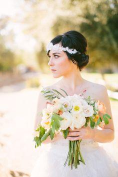 Bride DIY'd her headpiece from wedding dress extras! Very cool! See the wedding here: http://www.StyleMePretty.com/california-weddings/2014/05/15/diy-vineyard-wedding/ AgaJonesPhotography.com on #smp