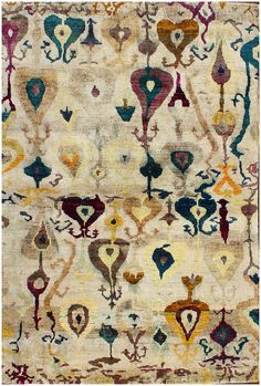 Ikat Sari Silk Hand Knotted Ivory Rug 30050 6' x 9'