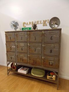Industrial Vintage Rustic School Lockers Pigeon Hole Storage Cabinet Wall Unit in Murray, VIC Industrial Design Furniture, Metal Furniture, Furniture Projects, Vintage Furniture, Bespoke Furniture, Furniture Online, Vintage Lockers, Metal Lockers, Rustic Storage Cabinets