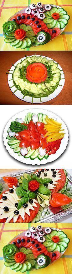 Fruit Salad Platter Recipe 23 Ideas For 2019 Food Design, Cute Food, Yummy Food, Food Garnishes, Garnishing, Food Carving, Vegetable Carving, Veggie Tray, Vegetable Snacks