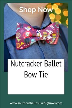 Your guy will love this charming nutcracker themed Christmas bow tie!  This maroon bow tie features various nutcracker ballet characters.  Adults can be a part of the fun too because it can be made to fit babies to adults! Great stocking stuffer for boys or a cute gift for dad! Stocking Stuffers For Boys, Bowtie Pattern, Newborn Bows, Christmas Hair Bows, Christmas Accessories, Boys Bow Ties, Cheer Bows, Newborn Photos