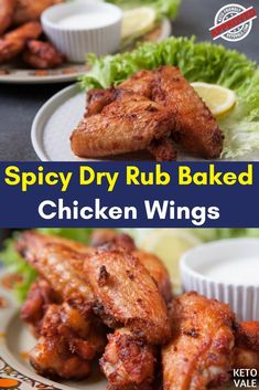 Keto Spicy Dry Rub Baked Chicken Wings Low Carb Recipe via @ketovale
