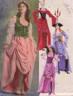 McCalls 5497 - size 6-12 MISSES GYPSY -PIRATE -DEVIL -PRINCESS costume dresses