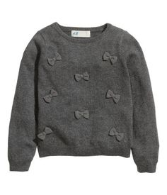 Sweater with Appliqués | Dark gray/bows | Kids | H&M US