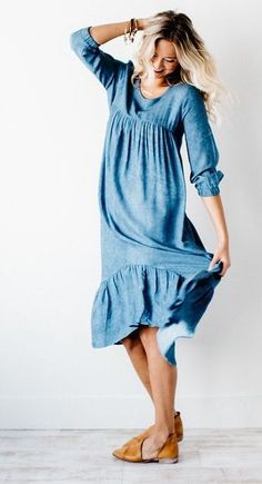 acid wash denim midi dress | ROOLEE